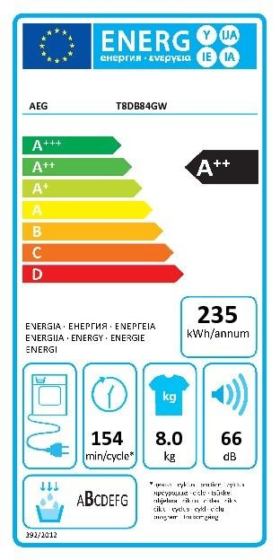 AEG T8DB84GW ABSOLUTECARE Warmtepompdroger