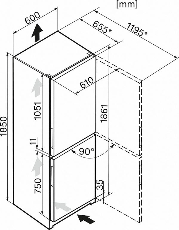 Miele KFN 28133 D edt/cs Koel/vriescombinatie