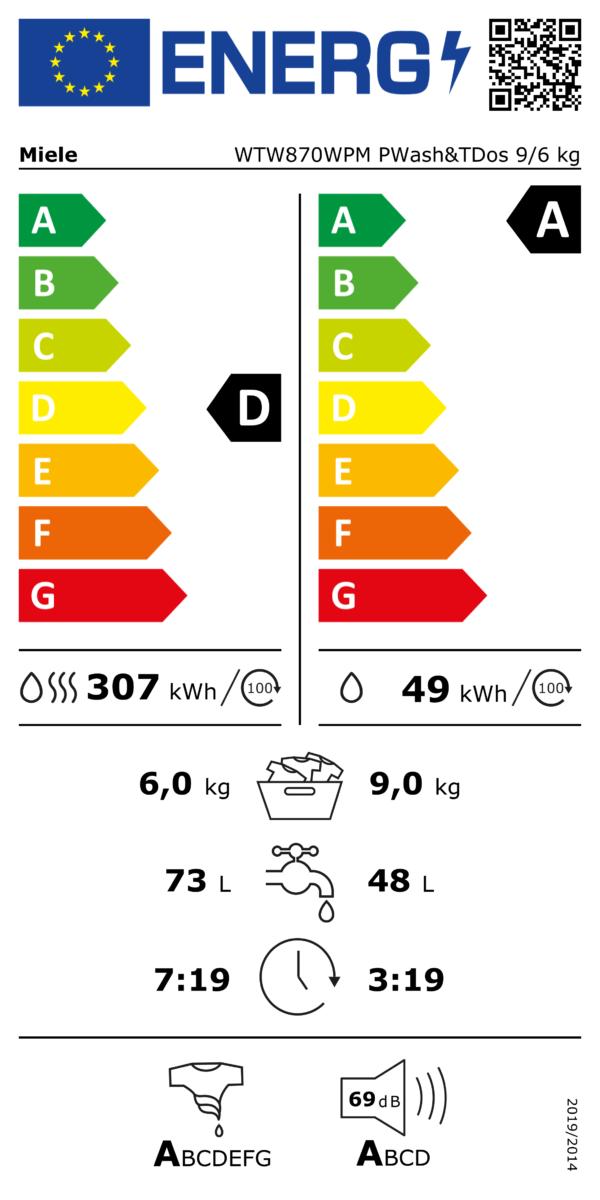 Miele WTW870 WPM PWash & TDos wasdroogcombinatie 9/6 kg