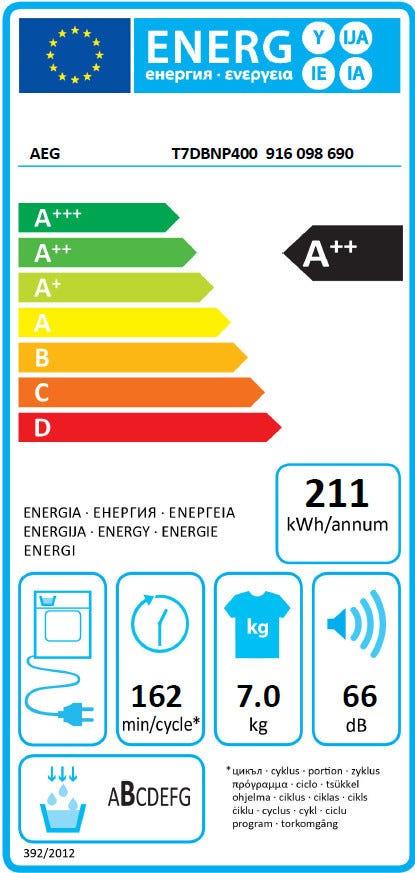 AEG T7DBNP400 Warmtepomp droger