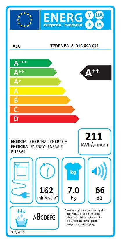 AEG T7DBNP612 Warmtepomp droger